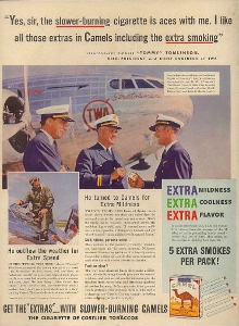 "This advertisement shows Tommy, center, in his TWA Captain's uniform, and inset, stepping into his Northrop Gamma NX-13758. ""He out flew the weather for Extra Speed."""